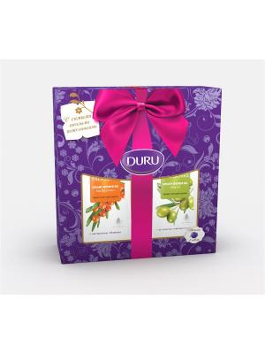 Duru natures treas 2 два геля для душа (оливка и облепиха) + мочалка-шар. Цвет: синий