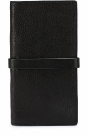 Кожаный футляр для документов с отделениями кредитных карт и монет Isabel Benenato. Цвет: черный