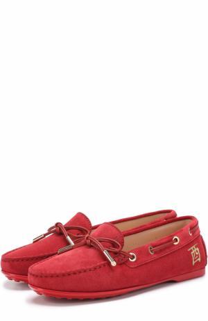 Замшевые мокасины на шнуровке Tod's. Цвет: красный