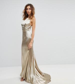 Jarlo Tall Платье макси с американской проймой, юбкой-годе и открытой спиной Jarl. Цвет: золотой