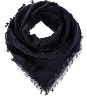 Синий хлопковый платок с вышивкой Diesel. Цвет: синий