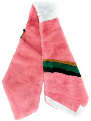 Меховой шарф Marni. Цвет: розовый и фиолетовый