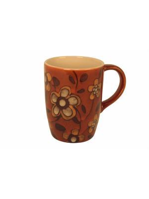 Кружка Цветы оранж.,340мл. Elff Ceramics. Цвет: оранжевый