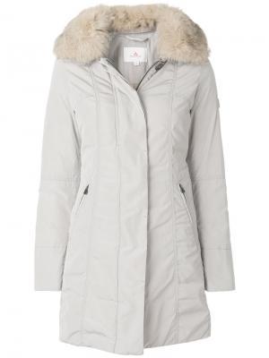 Пальто на пуговицах с меховым воротником Peuterey. Цвет: телесный