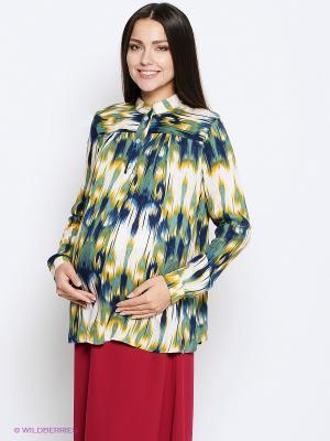 Блузка MammySize. Цвет: зеленый, желтый, темно-синий