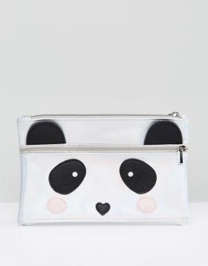 New Look Пенал с двойной молнией в форме панды. Цвет: мульти