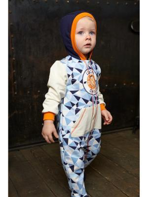 Комбинезон детский Умка (футер) Lucky Child. Цвет: синий, голубой