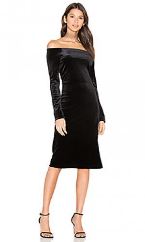 Бархатное платье с открытыми рукавами three dots. Цвет: черный