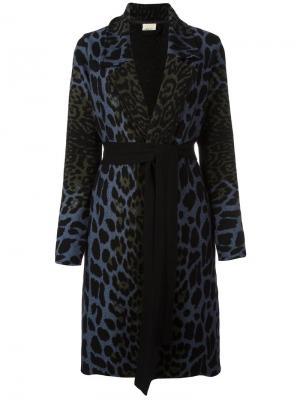 Пальто с поясом и леопардовым узором Circus Hotel. Цвет: многоцветный