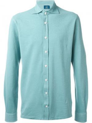 Рубашка из пике Barba. Цвет: синий