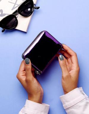 Monki Блестящий виниловый кошелек. Цвет: фиолетовый