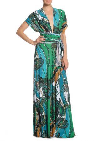 Платье-трансформер Von Vonni. Цвет: зеленый, принт