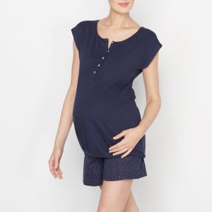 Пижама с шортами для периода беременности и кормления грудью COCOON. Цвет: синий/наб. рисунок