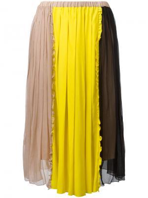 Плиссированная юбка дизайна колор-блок Nº21. Цвет: телесный