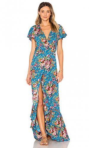 Платье с рюшами beach house AUGUSTE. Цвет: синий