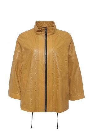 Куртка кожаная Mondial. Цвет: желтый