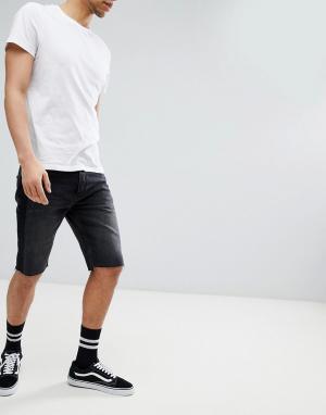 Mennace Черные выбеленные джинсовые шорты с рваной отделкой. Цвет: черный