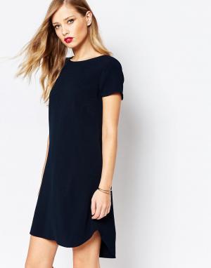 Closet London Креповое цельнокройное платье мини. Цвет: темно-синий