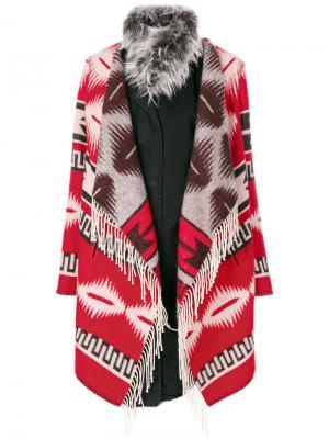 Пальто с узором в ацтекском стиле Bazar Deluxe. Цвет: многоцветный
