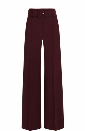 Шерстяные расклешенные брюки с поясом Theory. Цвет: бордовый