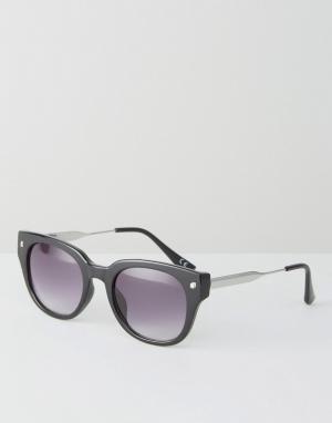 Jeepers Peepers Черные солнцезащитные очки в cтиле ретро. Цвет: черный