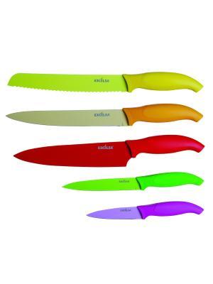 Набор из 5-ти кухонных ножей Excelsa. Цвет: желтый, зеленый, фиолетовый, красный