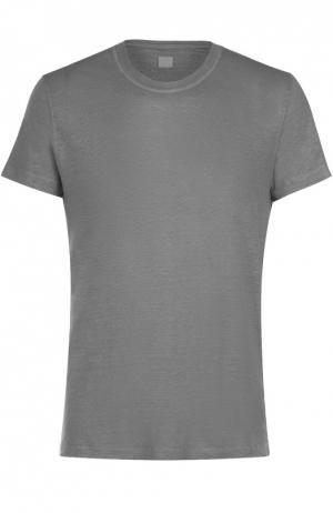 Льняная футболка с круглым вырезом 120% Lino. Цвет: серый