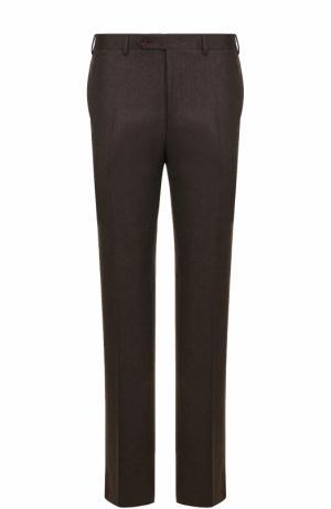 Шерстяные брюки прямого кроя Canali. Цвет: коричневый