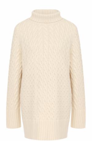 Кашемировый свитер фактурной вязки с высоким воротником The Row. Цвет: бежевый