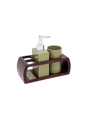 Набор для ванн из 3 предметов (подставка, дозатор, стакан) Blonder Home. Цвет: зеленый