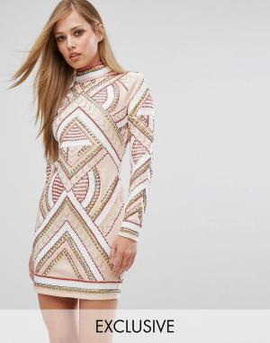 Starlet Платье мини с короткими рукавами и декоративной отделкой. Цвет: черный