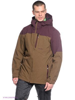 Куртка Volcom. Цвет: коричневый, фиолетовый