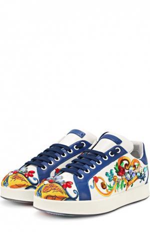 Кожаные кеды Portofino с кристаллами Dolce & Gabbana. Цвет: синий
