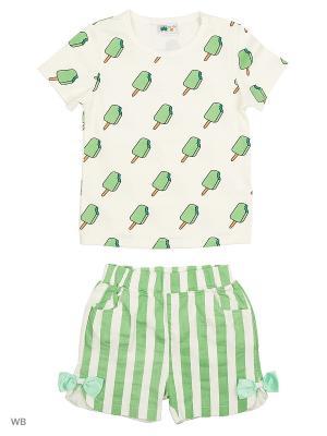 Комплект: футболка и шорты Sago Kids i Ant Domain. Цвет: зеленый, белый