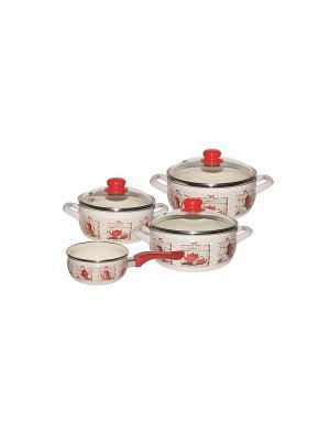 Набор посуды 7 предметов (2,5л, 3,35л, 4,5л + ковш 1,3л в подарок), стекл. крышки METROT. Цвет: бежевый, красный, серебристый