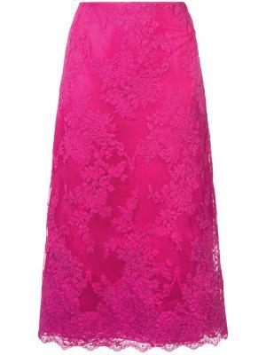 Кружевная юбка миди А-образного силуэта Marchesa. Цвет: розовый и фиолетовый