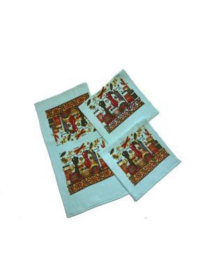 Набор полотенец 3 предмета. La Pastel. Цвет: коричневый, голубой