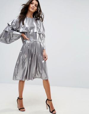 Love Плиссированная юбка миди. Цвет: серебряный