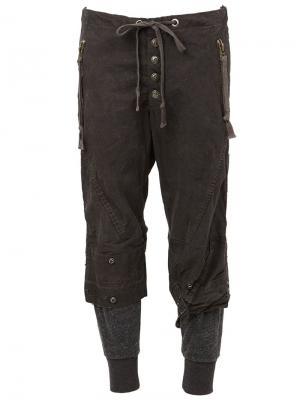 Укороченные брюки Greg Lauren. Цвет: серый