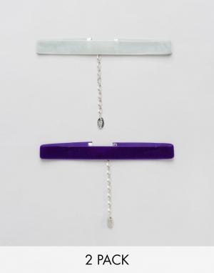Krystal 2 бархатных ожерелья-чокера. Цвет: фиолетовый