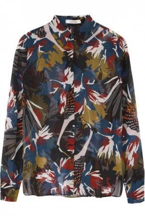 Шелковая блуза прямого кроя с контрастным принтом Dorothee Schumacher. Цвет: разноцветный