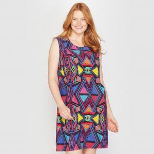 Платье средней длины TAILLISSIME. Цвет: рисунок разноцветный