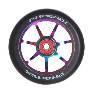 Колесо для самоката  F7 Alloy Core Wheel 110mm With Abec 9 Bearings Neo Chrome/Black Phoenix. Цвет: черный,мультиколор