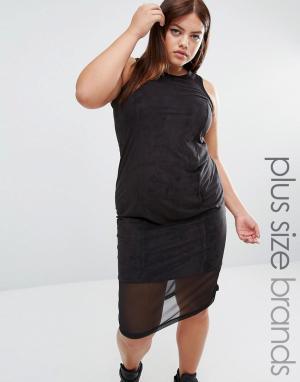 One Three Платье миди из искусственной замши с сетчатой вставкой. Цвет: черный