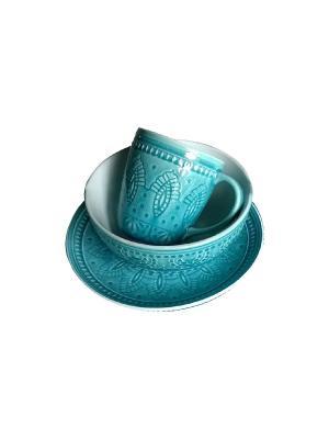 Набор столовой посуды TONGO. Цвет: бирюзовый, светло-голубой