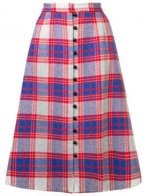 Клетчатая юбка на пуговицах Novis. Цвет: красный