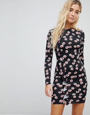 Daisy Street Облегающее платье с цветочным принтом и оборкой. Цвет: черный