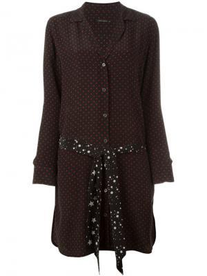 Платье-рубашка в горох Equipment. Цвет: чёрный