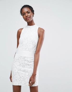 Endless Rose Кружевное платье мини. Цвет: белый