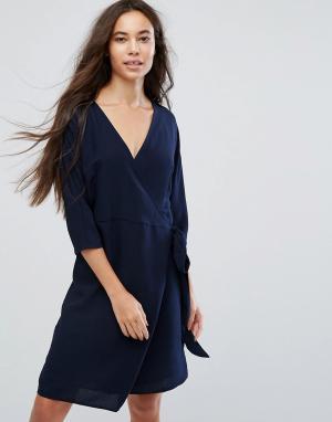 B.Young Платье с запахом. Цвет: темно-синий
